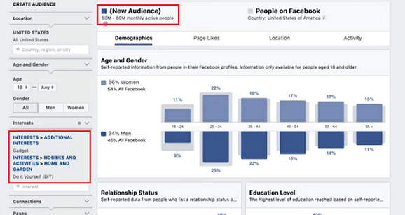 Researching profit potential on Facebook audience insights