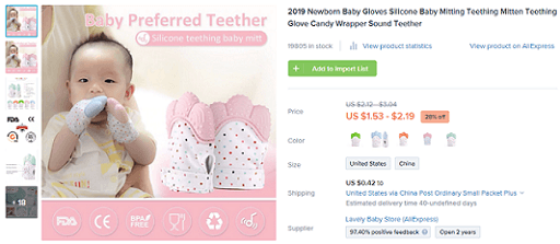 Consider selling this baby teething mitt if you're targeting the baby niche