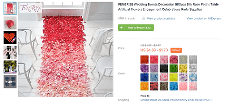 One of the best product ideas in the wedding niche is these silk rose petals