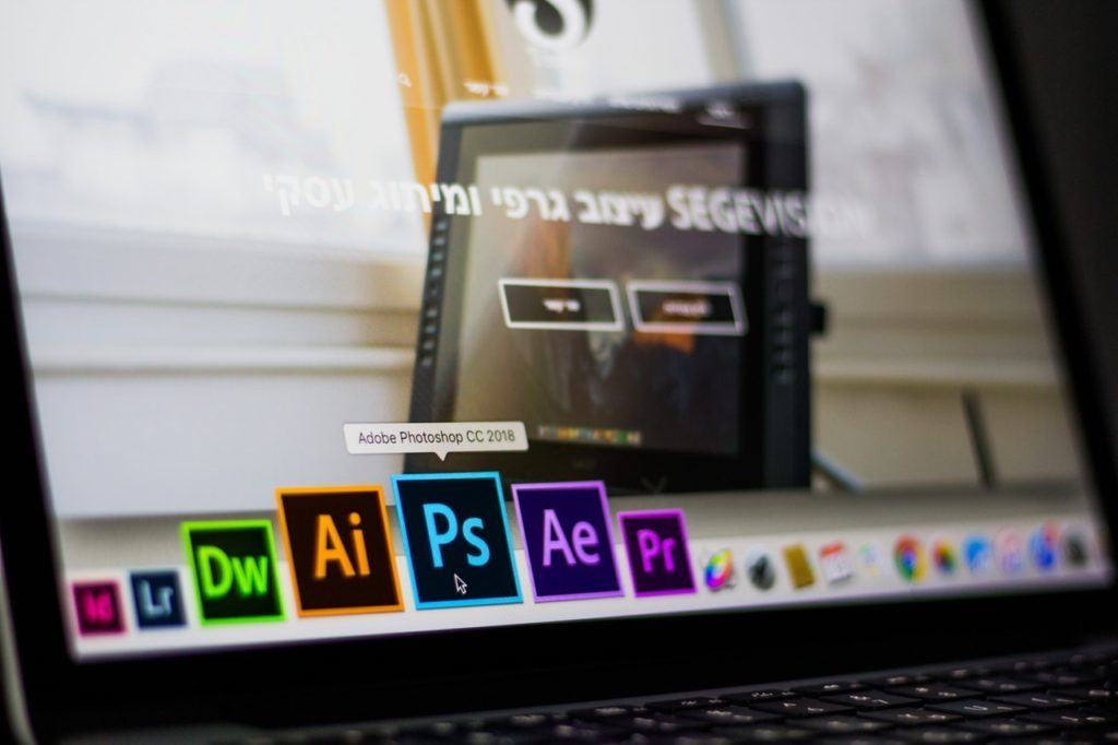 A laptop showing professional photography software