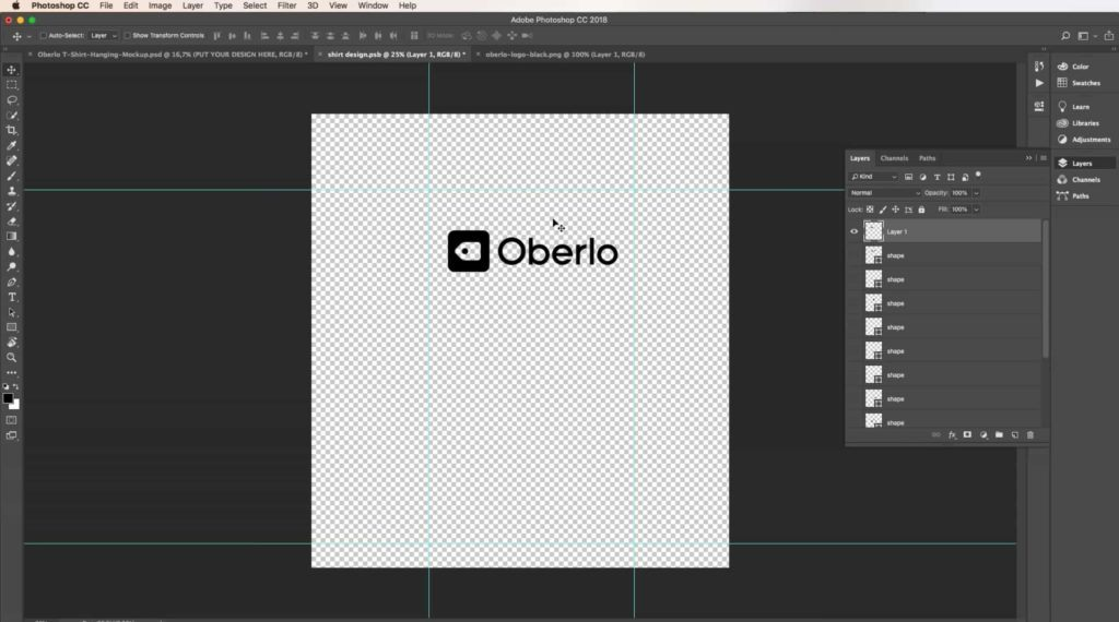 using photoshop with an oberlo logo