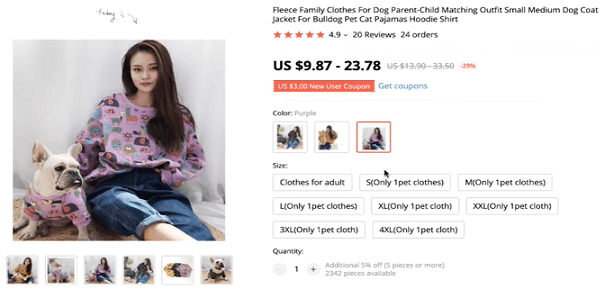 Product recommendation: matching dog and owner sweaters
