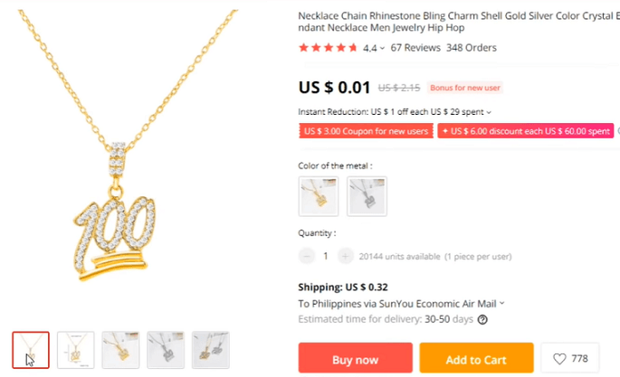 Rhinestone emoji pendant is the first item on the list of products to avoid dropshipping
