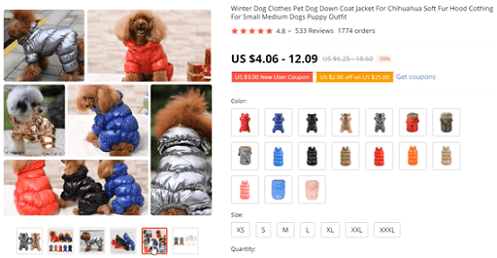 Consider selling puppy puffer jackets in your ecommerce shop