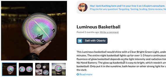 Product recommendation #3 is this luminous basketball