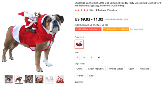 Dropship these santa dog costumes this winter