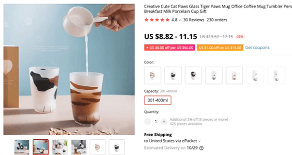Start dropshipping these cat paw cups in 2020 now
