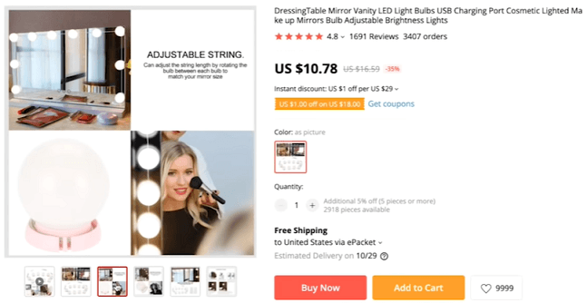 We recommend using the product video for these mirror lights when you're dropshipping the product