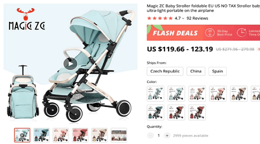 Expert dropshipper Paul Lee recommends dropshipping this foldable baby stroller