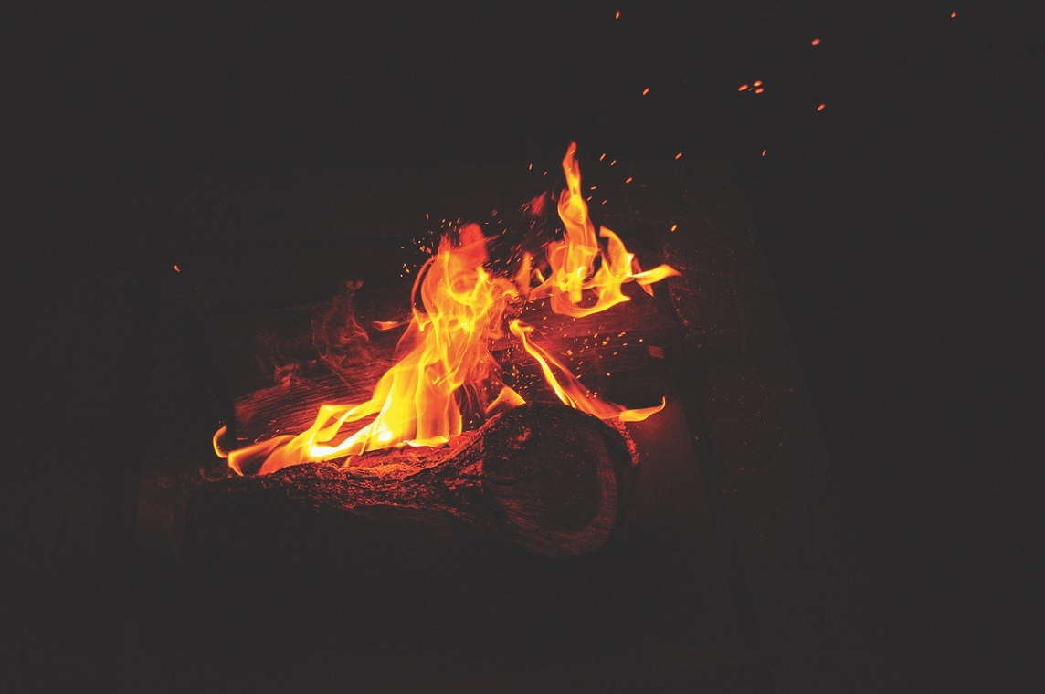A burning bonfire to get rid of stuff and recover