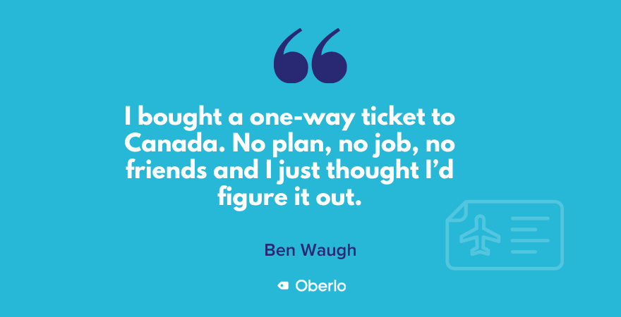 Ben on his one-way ticket to Canada