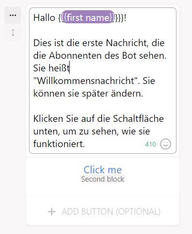 Chatbot Begrüßunhsnachricht Beispiel Chatfuel