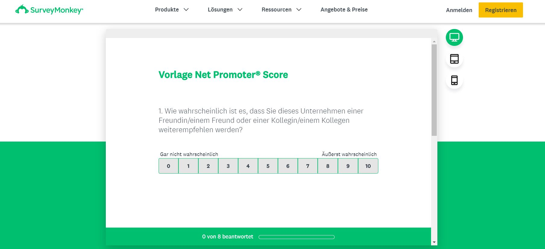 Net Promoter Score Vorlage Survey Monkey