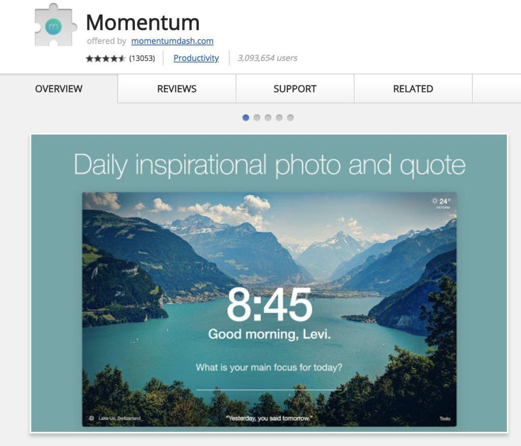 chrome erweiterung momentum