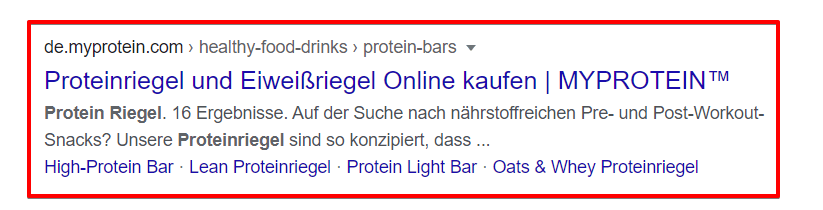 Meta Description Proteinriegel bei MyProtein