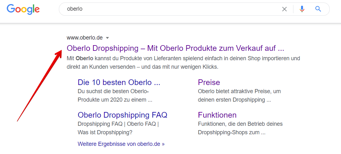 Meta Description von Oberlo.de