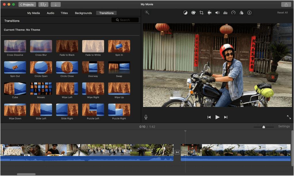 Screenshot videobearbeitungsprogramm iMovie