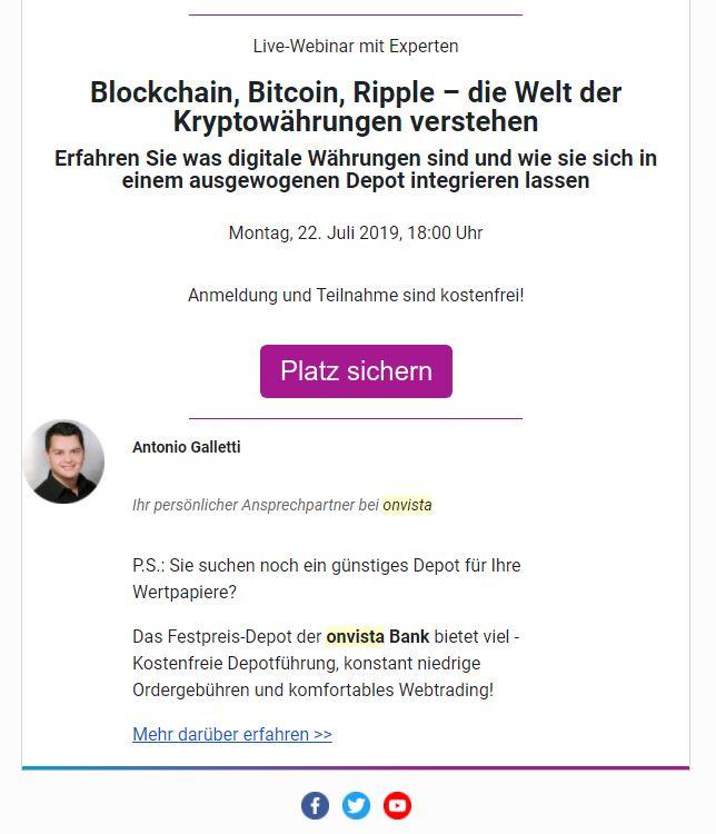 Webinar Einladung von Onvista
