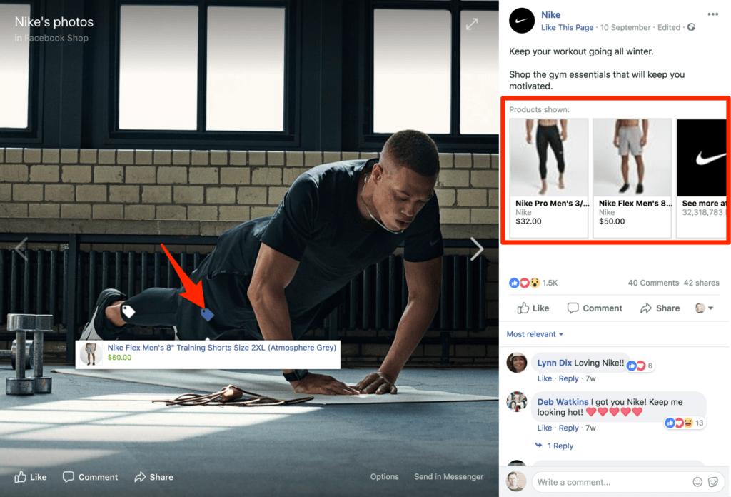 Facebook Shop von Nike