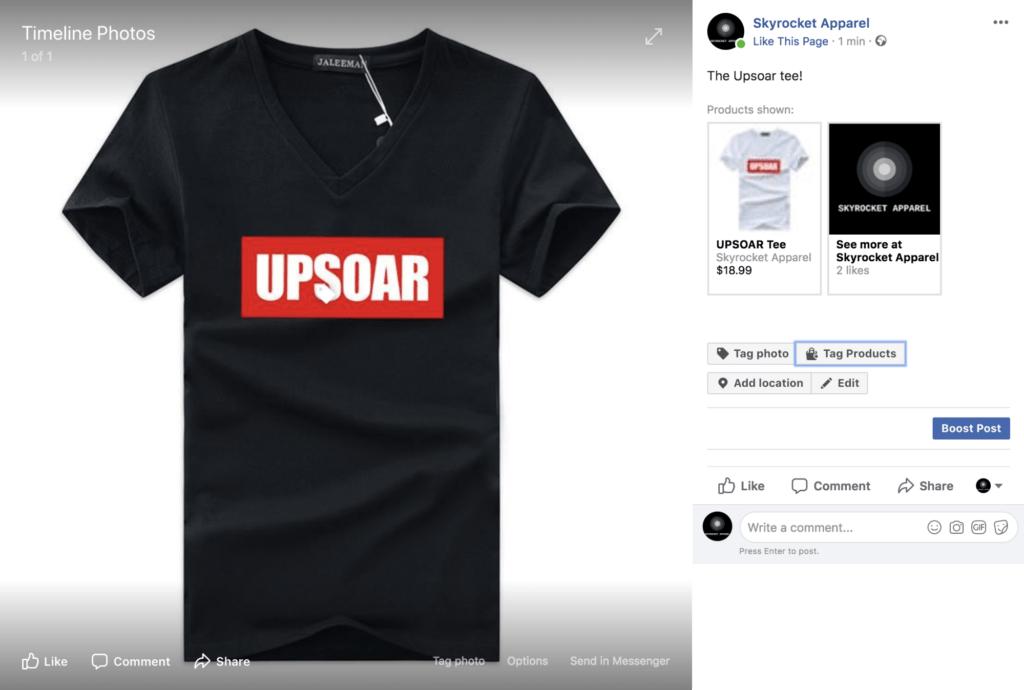 Facebook Shop als Screenshot-Beispiel