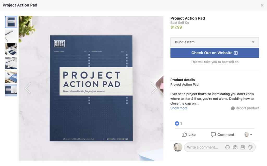 Screenshot Checkout auf Website Facebook