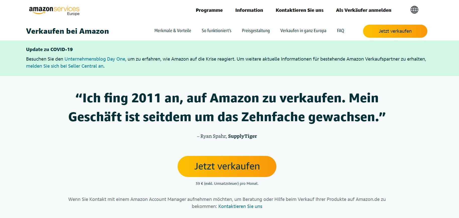 Bei Amazon verkaufen - Anmeldung