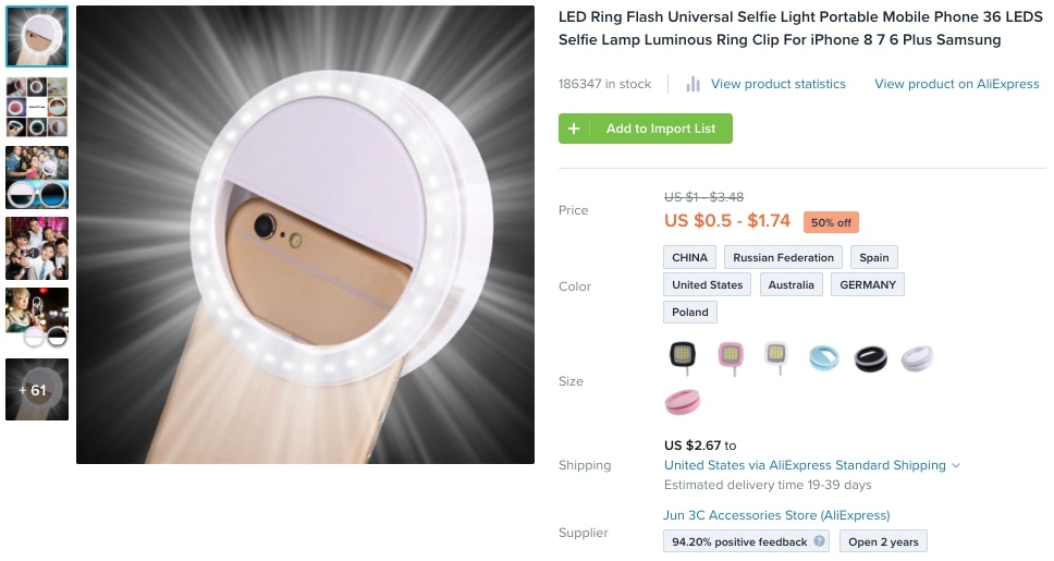 Selfie-Ringlicht - Geschäftsideen