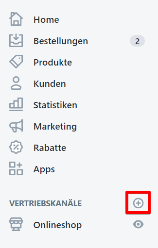 Auswahl Vertriebskanäle Shopify