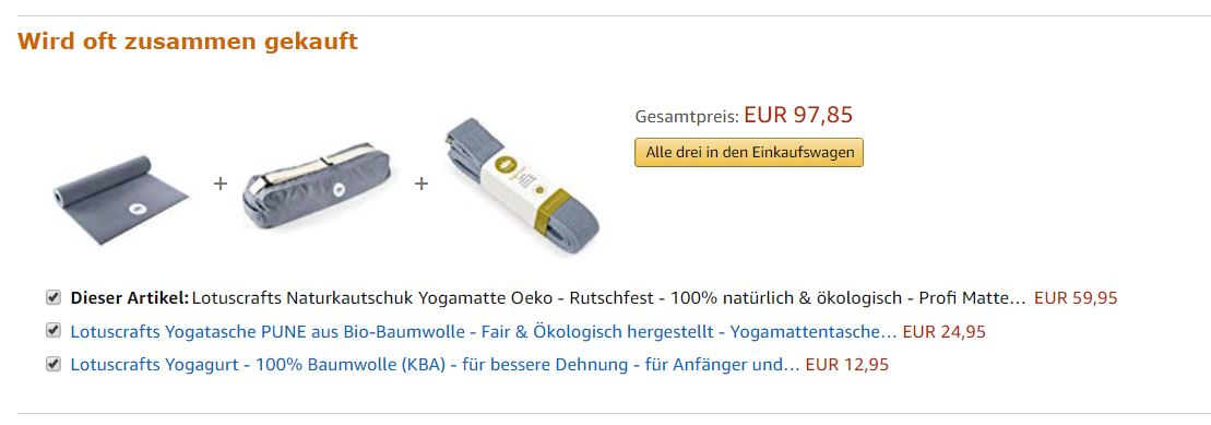 Cross-Selling am Beispiel Yogamatte bei Amazon