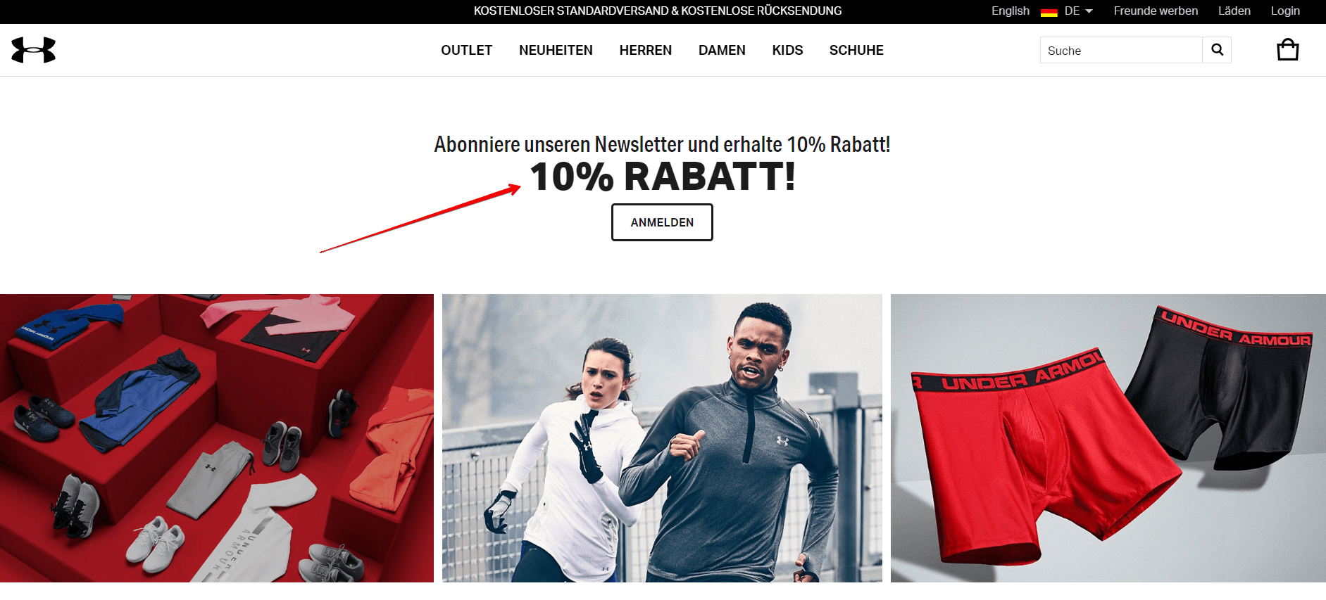 Email marketing von under armour deutschland