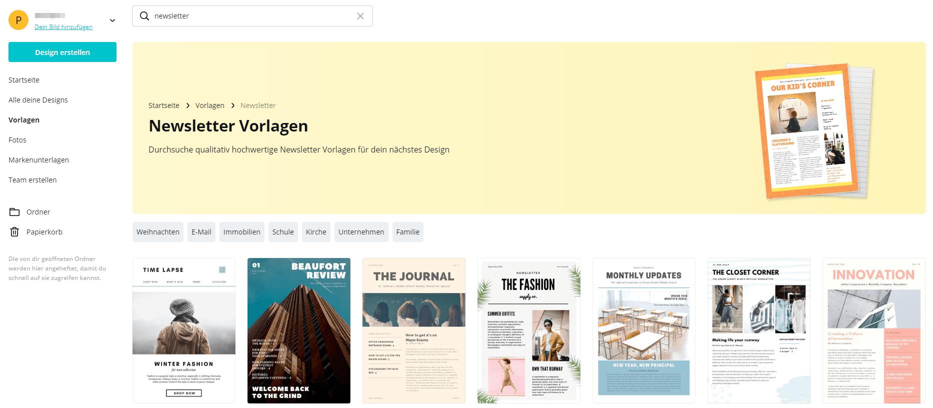 Newsletter Marketing mit Canva - Screenshot