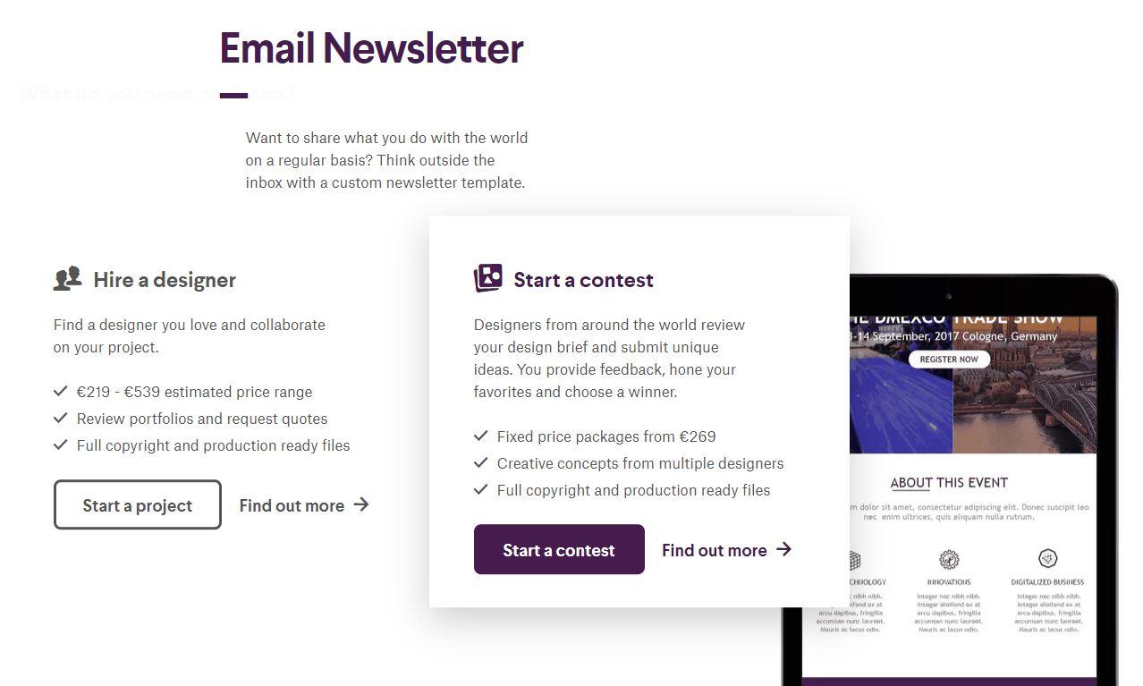 Newsletter Design bei 99 Designs - Screenshot