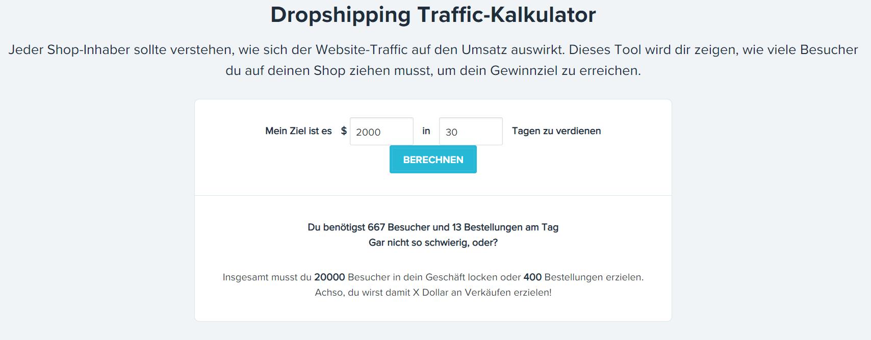 Oberlo Traffic Kalkulator - Screenshot