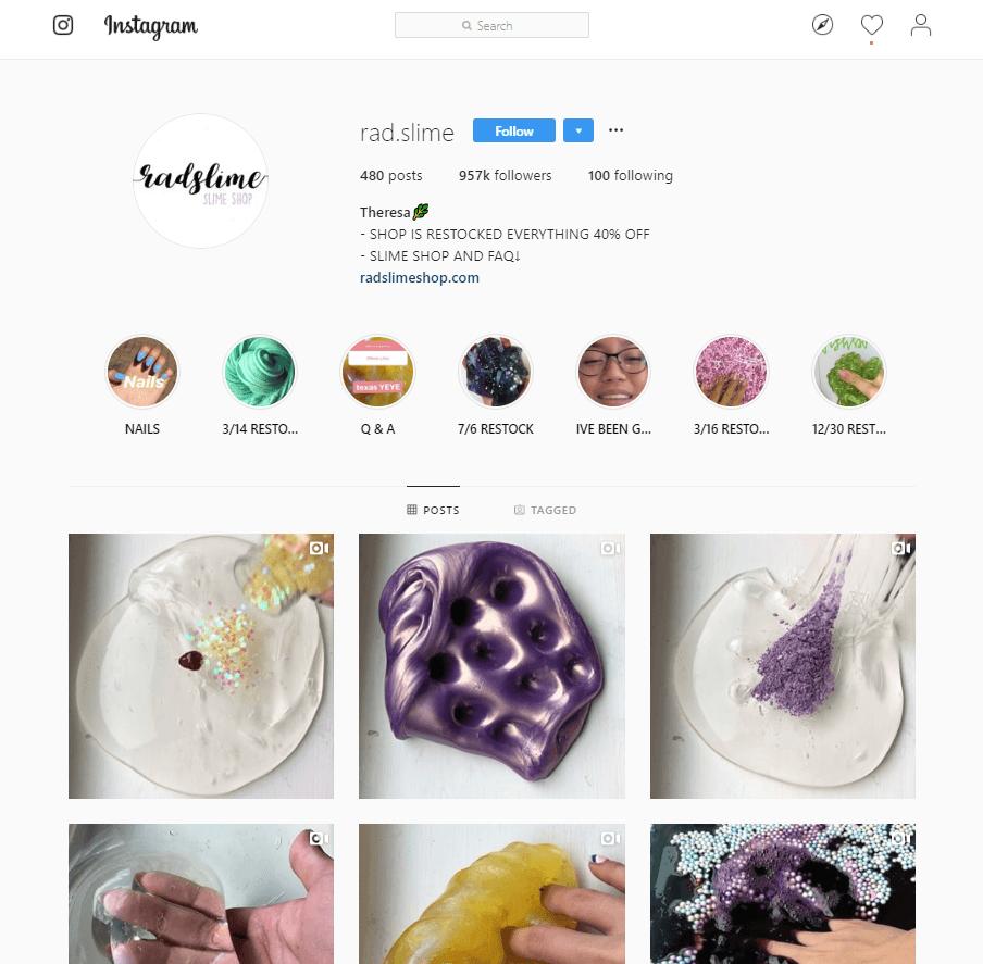 RadSlime Shop - Mit Instagram Geld verdienen - Beispiel