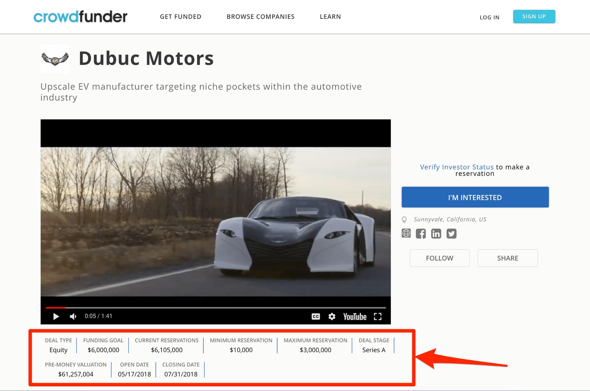 Crowdfunder Dubuc Motors - Screenshot