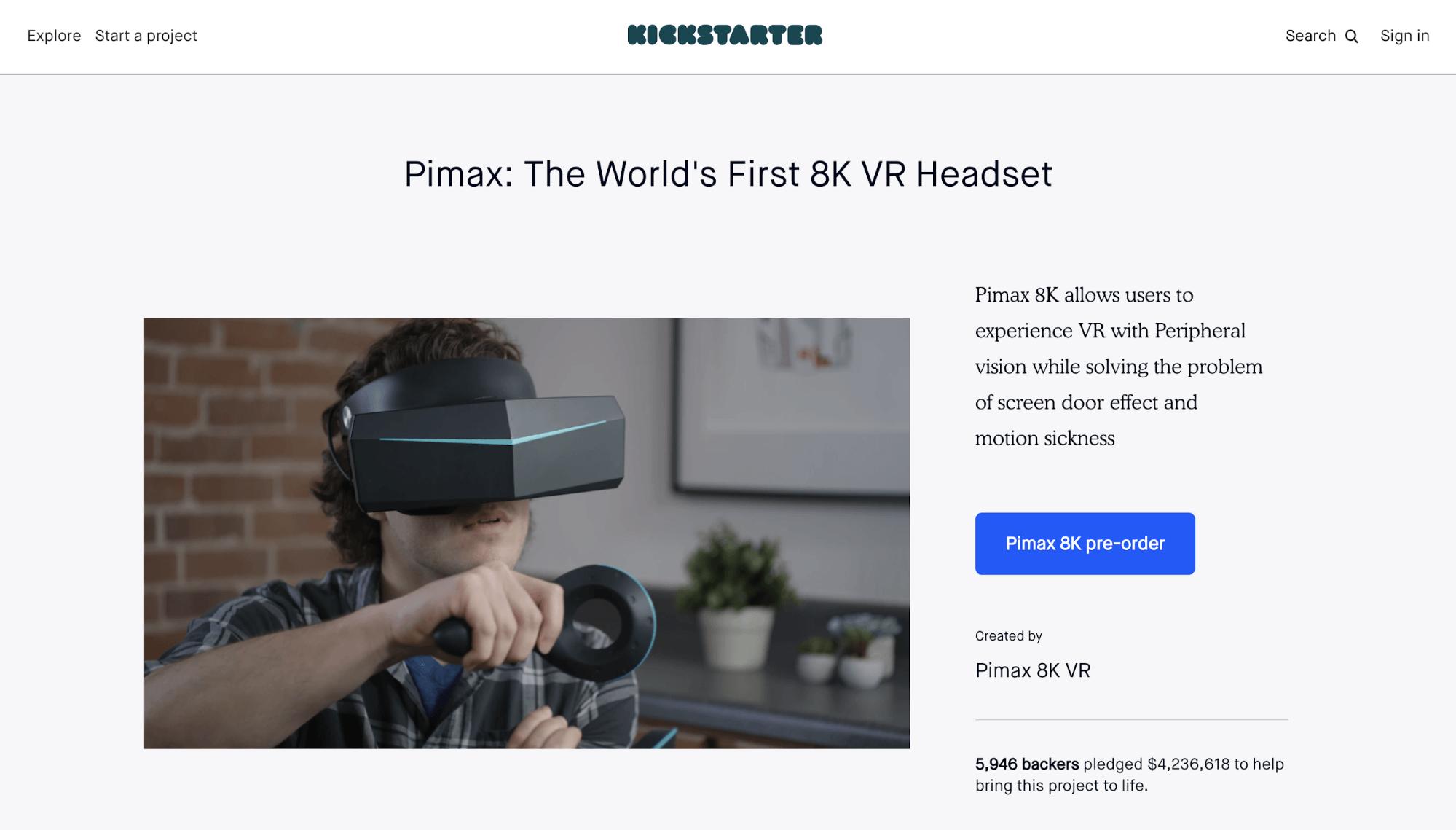 Crowdfunding Beispiel Pimax - Screenshot