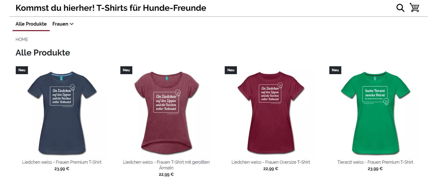 Mit Bloggen Geld verdienen - T-Shirt Shop Beispiel