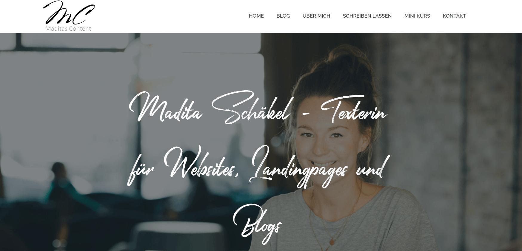 Beispiel-Seite für Freelance-Copywriterin