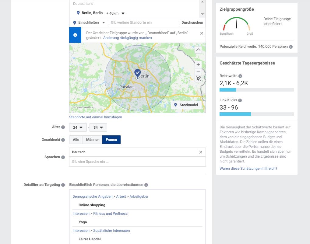 Zielgruppe und Targeting auf FB