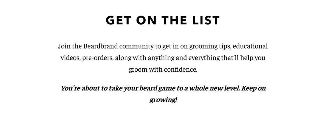 Newsletter CTA von BeardBrand