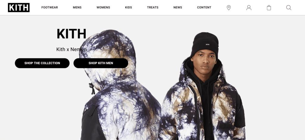 Screenshot Marke Kith als Beispiel Firmennamen