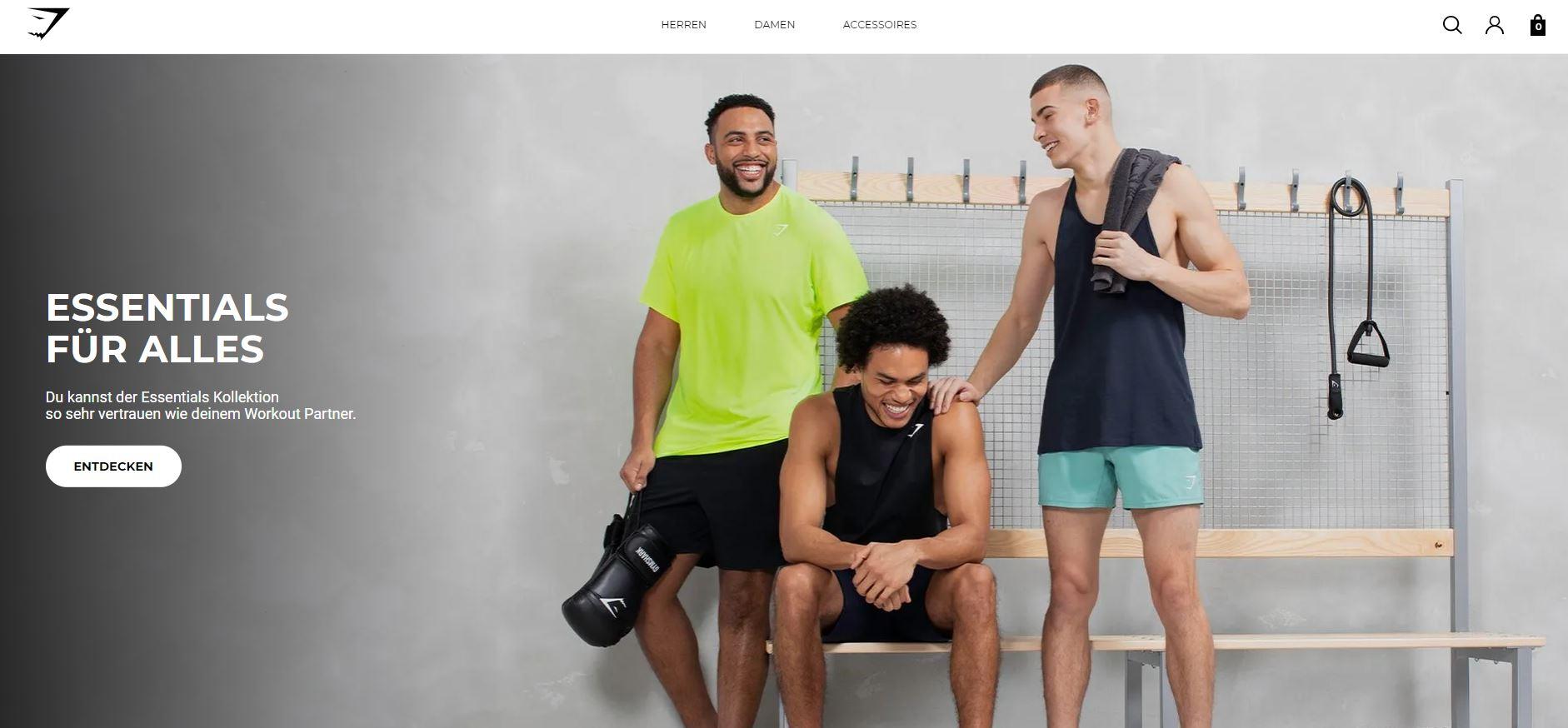 Screenshot Gymshark als Beispiel für guten Firmennamen