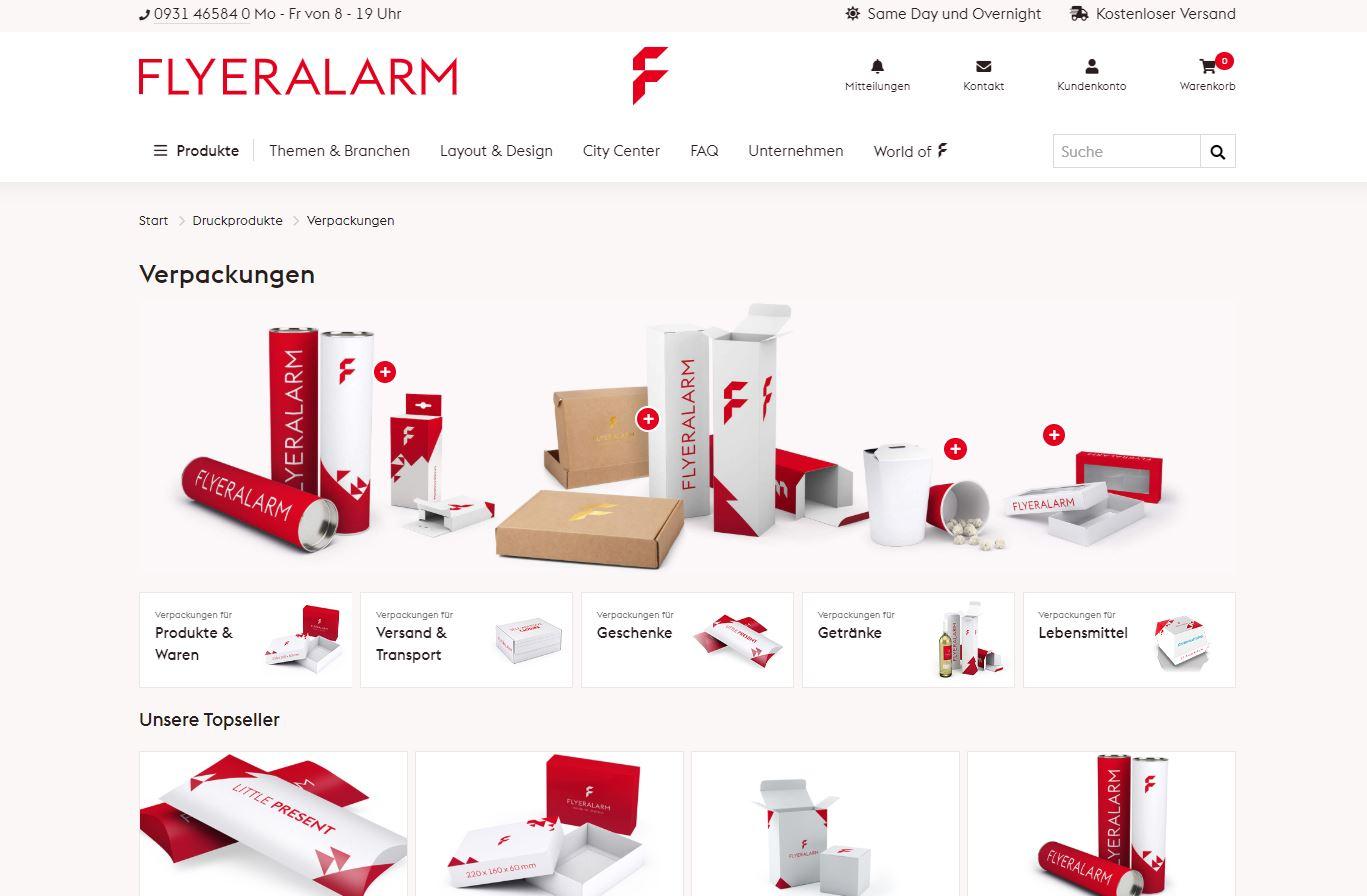 Screenshot Flyeralarm