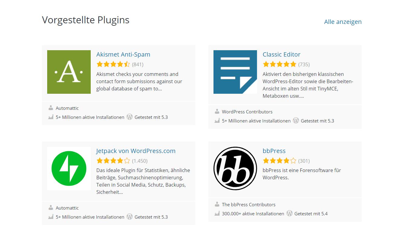 Wordpress Plugins Screenshot