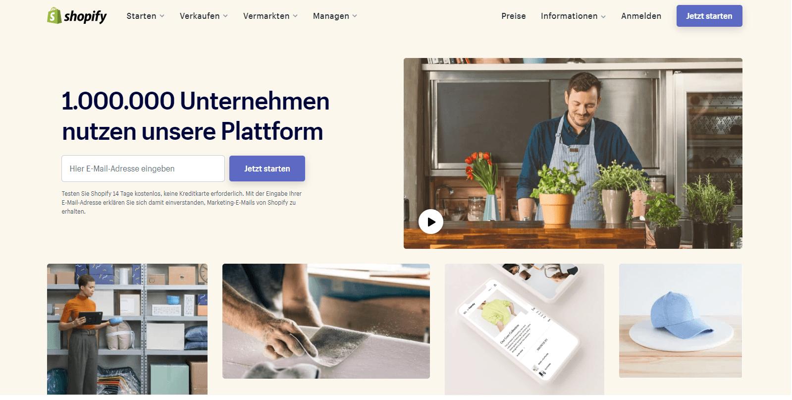 Website erstellen mit Shopify - Screenshot