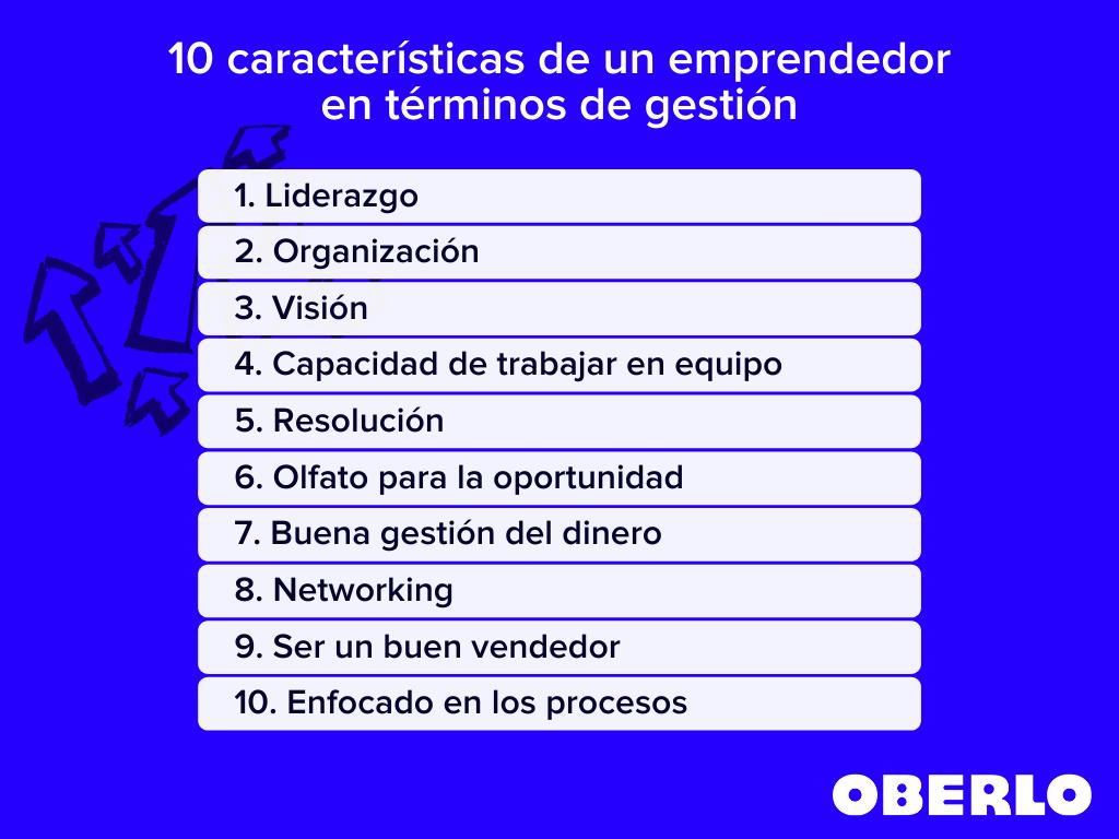 10 caracteristicas de un emprendedor en terminos de gestion