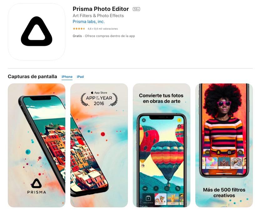 prisma aplicacion para editar fotos