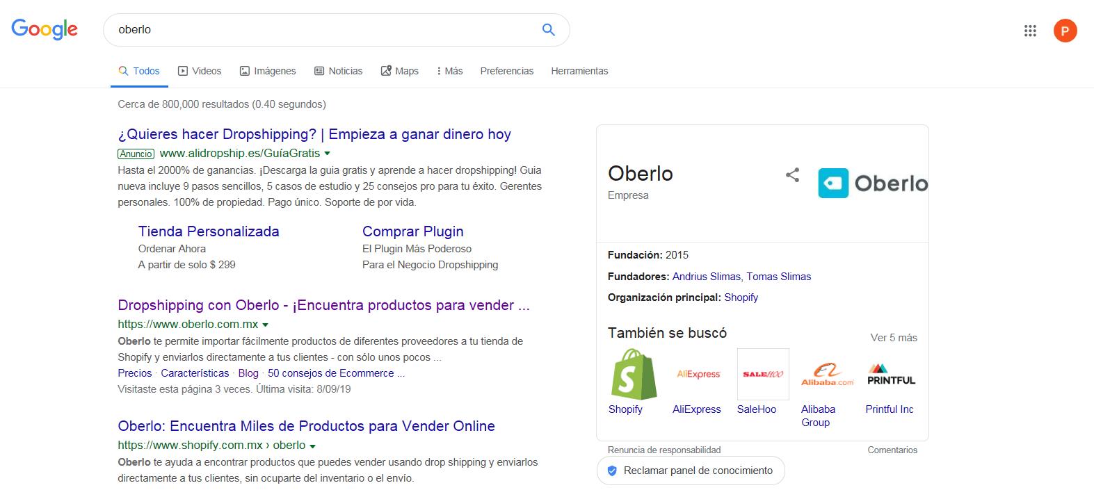 1. ejemplo de un SERP de Google