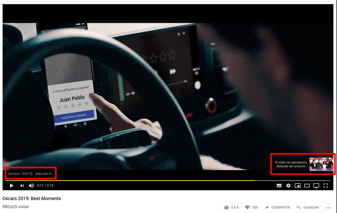 Anuncio de vídeo no saltable