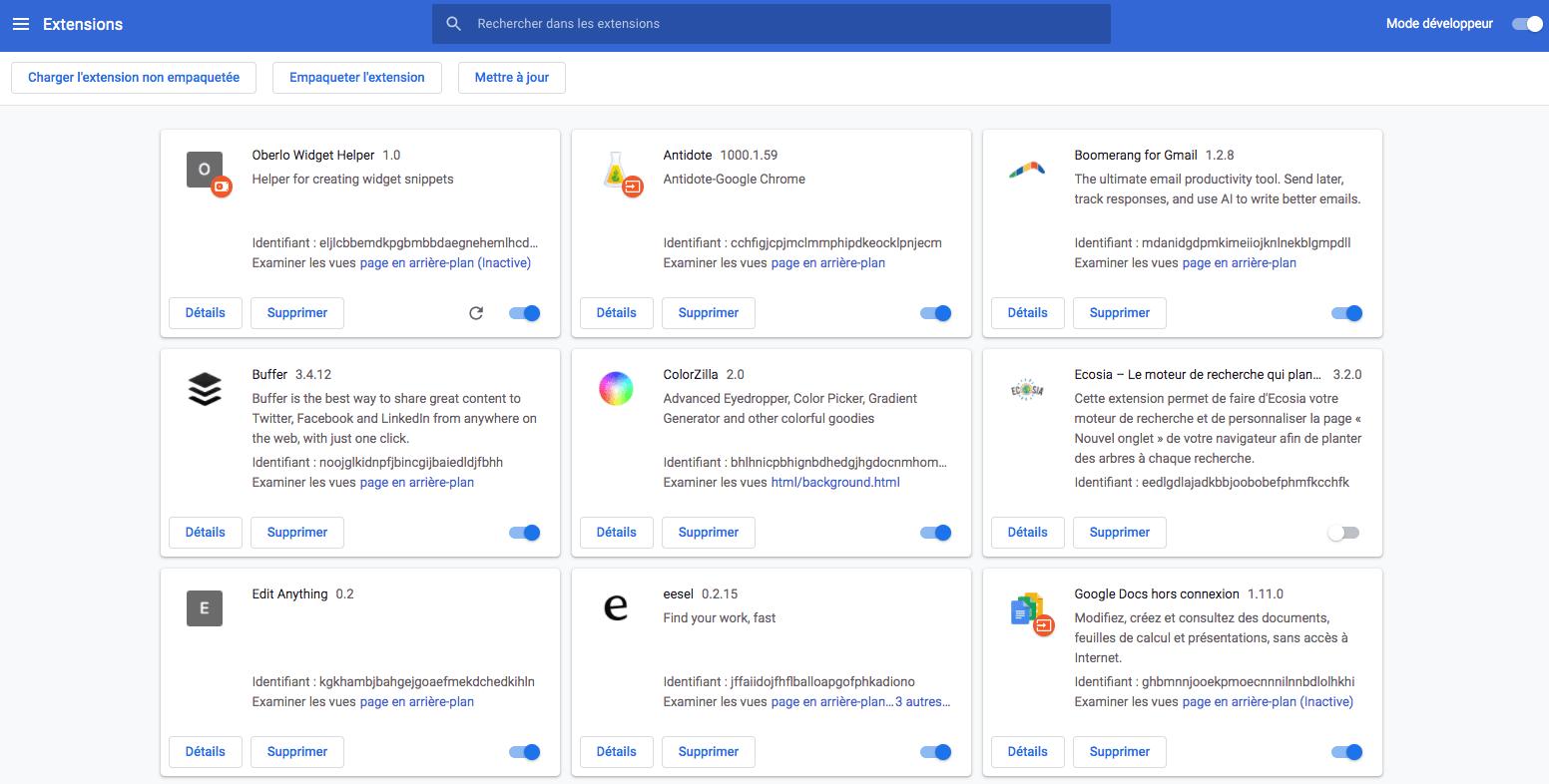 Gestion Google Chrome